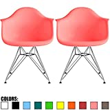 2xhome - Set of Two (2) - Pink - Plastic Armchair with Eiffel Legs Dinning Chair Eames Style Molded Plastic Wire Chair Base (DAR) Legs