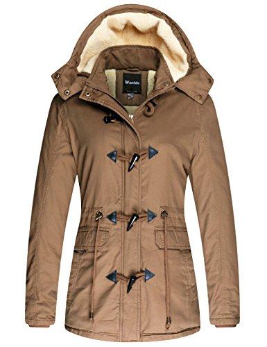 Wantdo Women's Winter Thicken Jacket Cotton Coat with Removable Hood Khaki, - Duffle Coat