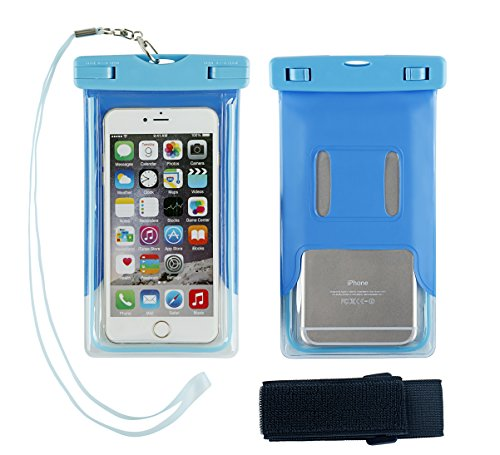 Universal Waterproof Phone Case, Multifunction CellPhone Dry Bag Pouch with Armband Feature & Neck Strap for iPhone 7/7 Plus, 6/6S/6S Plus, SE, Galaxy S8/S8 Plus, S7/S6 Edge, BLU, MOTO (blue)
