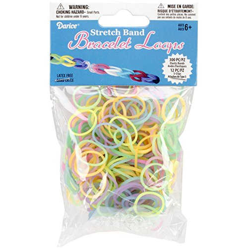 Darice 312-Piece Stretch Band Bracelet Loops and S-Clips Set, Glow in The Dark -