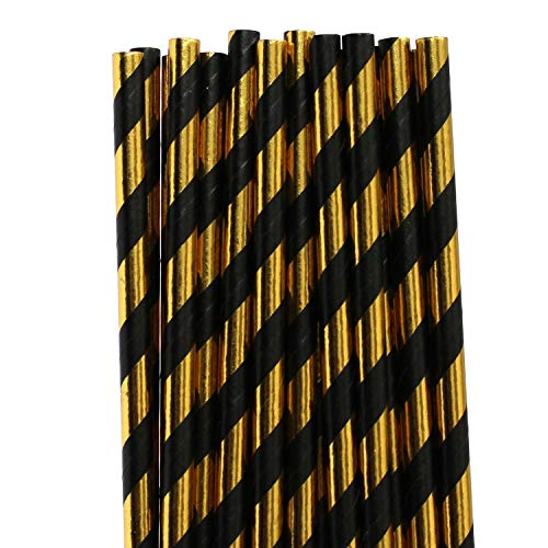 100 pcs Black Gold Foil Striped Paper Straws, Shiny Metallic Foil Stripe Party Vintage Paper Drinking Straws Bulk, Graduation Wedding Holiday New Years Eve Cake Pop Sticks -