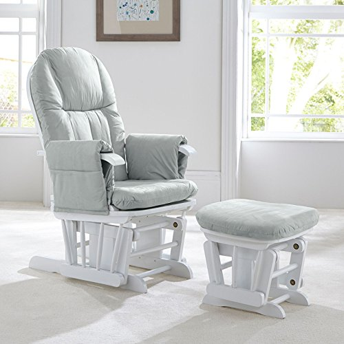 Tutti Bambini Deluxe Padded Smooth Glider Nursing Chair & Foot Stool with 3...