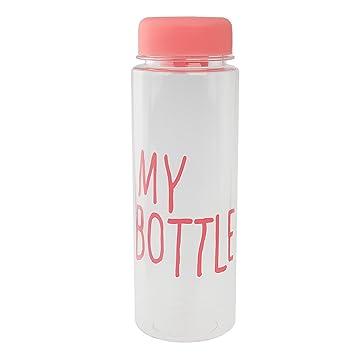 Botella De Agua De Plástico Botella De Zumo De Fruta Mano 500ML Reutilizable Taza De Leche - De Color Rosa: Amazon.es: Deportes y aire libre