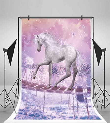 AOFOTO 5x7ft Fairytale White Unicorn Walking on Hanging Bridge Backdrop Fantasy Flowers Wonderland Kids Girls Birthday Party Baby Shower Photography Background Photo Studio Props Vinly Wallpaper