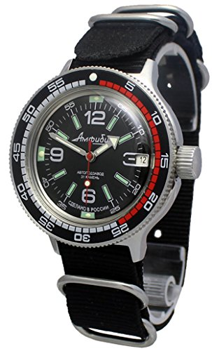- Amphibia 200m VOSTOK Automatic Mechanical Watch with Custom Bezel! New! 2416/420640 (Black)