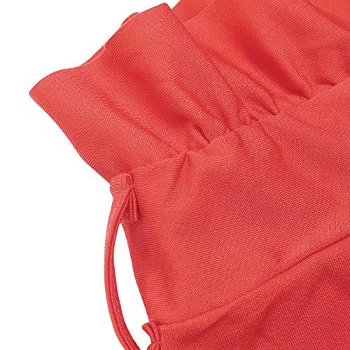 Femme Orange Long Jambe Haute Unie Ceinture Noir Lache Pantalon Droit Taille Dames Couleur S Large Avec Elegant Mode Toogoo AdwUqA