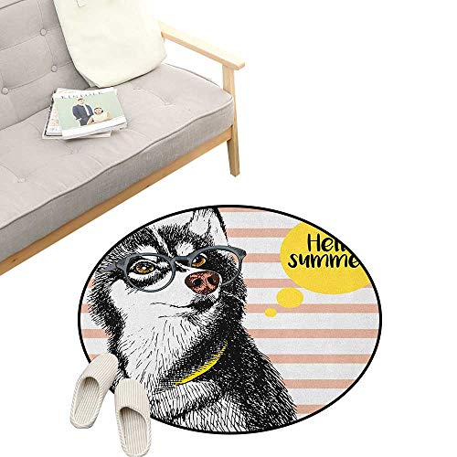 Alaskan Malamute Custom Round Carpet ,Retro Design Cute Hipster Husky with Glasses Saying Hello Sketch Artwork, Dorm Room Bedroom Home Decorative 47