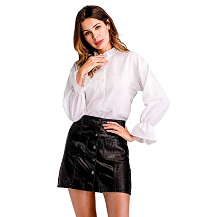 465ce46132df51 Onfly Women Stand Collar Long Sleeve Flounce White Shirt Sweet Button Solid Chiffon  Blouse Spring Tops