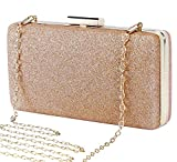 Selighting Women's Glitter Clutches Evening Bags Formal Party Handbags Prom Wedding Clutch Purse with Chain (One Size, Champagne)
