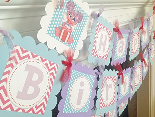 Abby Cadabby & Elmo Inspired Happy Birthday Banner - Baby Blue Polka Dots, Hot Pink Chevron & Lavender, Red and White Accents - Party Packs Available (Abby Cadabby Party City)