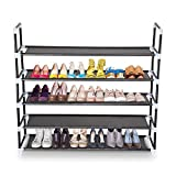 Koval Inc. 5 Tiers Shoe Rack Organizer Closet Shelf Storage, Holds 20-25 Pairs of Shoes (5 Tiers Black)
