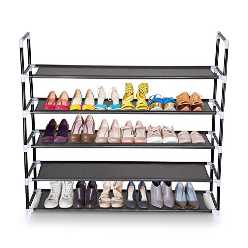 Koval Inc. 5 Tiers Shoe Rack Organizer Closet Shelf Storage, Holds 20-25 Pairs of Shoes (5 Tiers Black) by KOVAL INC.