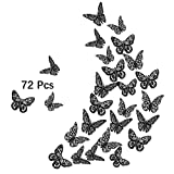 3D Butterfly Wall Decals, 72Pcs 3 Sizes 3