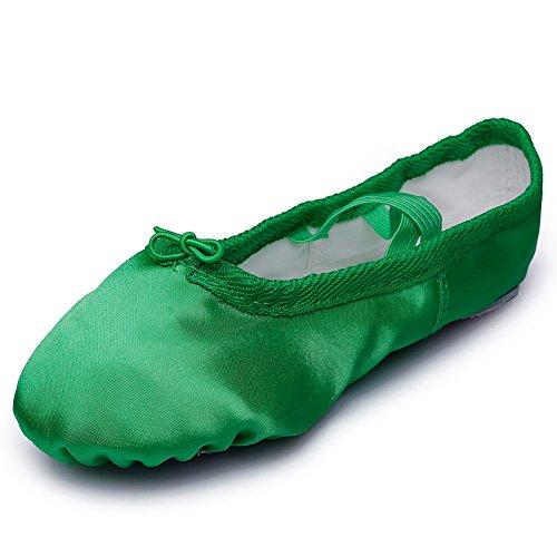 Kid Girl's Satin Practise Ballet Slipper Yoga Shoe,Green,Toddler,7 M US -