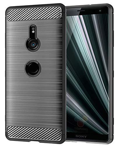 Sony Xperia XZ3 Case, UCC Frosted Shield Luxury Slim TPU Bumper Cover Carbon Fiber Design and Anti-Scratch and Non-Slip Case Cover for Sony Xperia XZ3 (Gray)