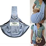i'Pet Hands-Free Reversible Small Dog Cat Sling Carrier Bag Travel Tote Soft Comfortable Puppy Kitty Rabbit Double-Sided Pouch Shoulder Carry Tote Handbag (Blue)