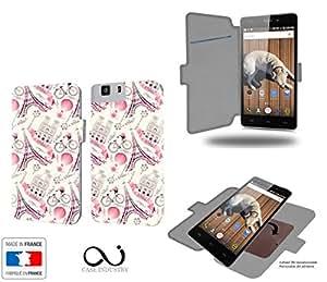 Caso de Doogee X5 Paris Ville Romantique Collection Patternde almacenamiento innovadoras con tarjeta de la puerta interna - Estuche protector de Doogee X5 con fijación adhesiva reposicionable 3M