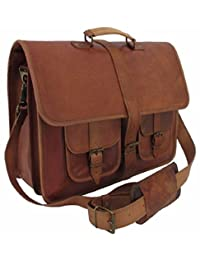 "Handolederco 18"" Inches Classic Adult Unisex Cross Shoulder Leather Messenger Laptop Briefcase Bag Satchel Brown"