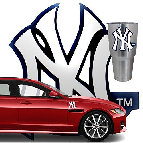 5 PACK New York Yankees Logo Heavy Duty Vinyl Decal. NY Emblem Sticker is Waterproof & UV Resistant. Cellphone Case Laptop Wall Helmet Window Boat Toolbox Bike Car Auto Hard Hat Bumper Merchandise Box