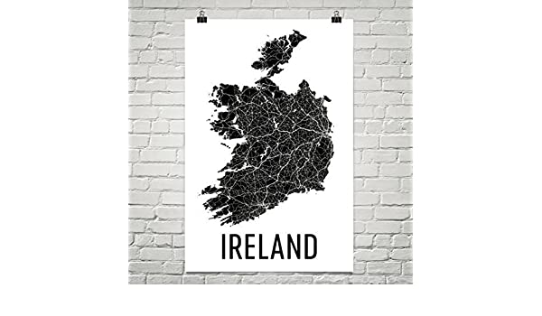 Print Map Of Ireland.Amazon Com Modern Map Art Ireland Map Map Of Ireland Ireland