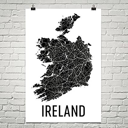 Map Of Ireland In Irish.Amazon Com Modern Map Art Ireland Map Map Of Ireland Ireland