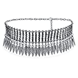Bling Jewelry Native American Southwestern Style Dangling Leaf Choker Rhodium Plated Necklace 17 Inches