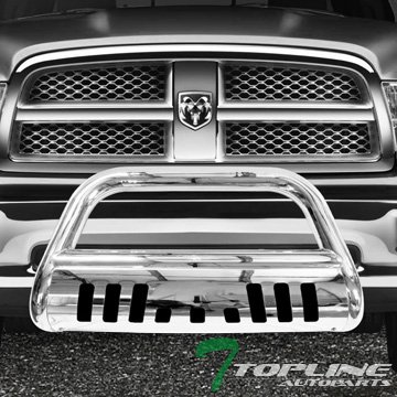 Topline Autopart Polished Stainless Steel Bull Bar Brush Push Front Bumper Grill Grille Guard With Skid Plate V2 For 09-17 Dodge Ram 1500