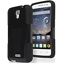Alcatel One Touch Pop Astro Phone Case, Bastex Heavy Duty Hybrid Soft Black Silicone Cover Hard Black Kickstand (T-Stand) Case for Alcatel One Touch Pop Astro