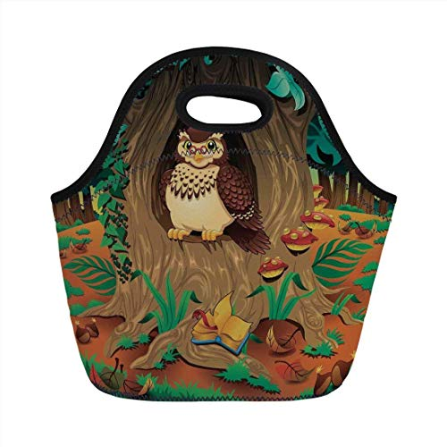 Portable Bento Lunch Bag,Owls Home Decor,Old Wise Nanny Grandma Owl in the Chestnut Tree Hallow Looking Through Sage Character Print,Multi,for Kids Adult Thermal Insulated Tote Bags