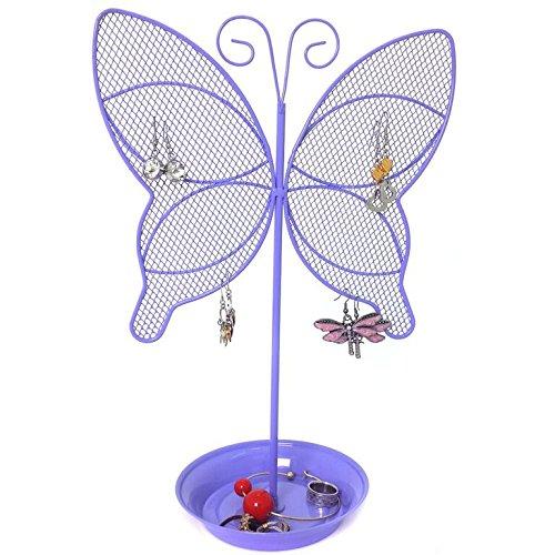 Cute Butterfly Jewelry Organizer - Purple Earring Jewelry Stand - Dresser Top Jewelry Organizer for Teens - Earring Holder