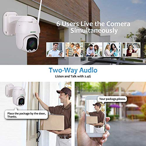 Outdoor Security Camera, SV3C 1080P Full HD Pan Tilt WiFi Security Camera, Wireless Surveillance CCTV IP Camera, Two Way…