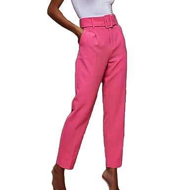 Juleya Pantalones Rectos Puro Mujer Cintura Alta con ...