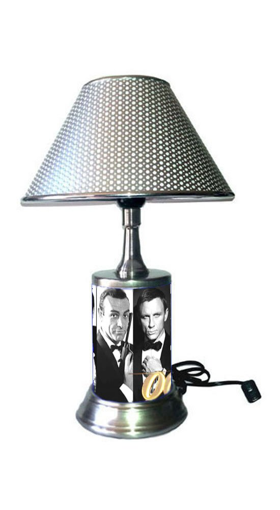 JS 007 Movie Lamp with Chrome Shade, 007 Movie Stars, Daniel Craig, Sean Connery