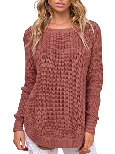Simplee Women's Crew Neck Raglan Sleeve Knitted Pullover Sweater Side Split (Split Sweater Ribbed)