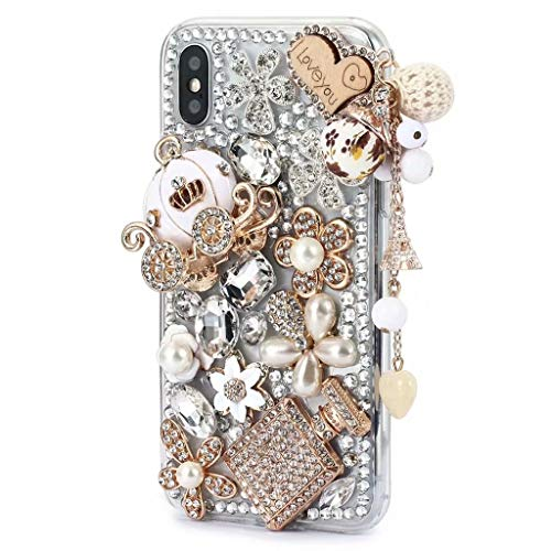 iPhone Xr Shiny Rhinestone Case,iPhone Xr Bling Diamond Case,FreeAir 3D Handmade Crystal Bling Diamonds Shiny Rhinestone Pumpkin Car Soft Case for iPhone Xr (6.1 inch) ()