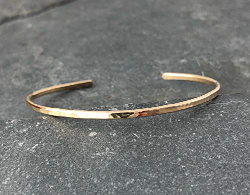 - Gold Fill Hammered Thin Cuff Stacking Bracelet