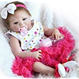 Pinky 23 Inch 57cm Realistic Looking Reborn Baby Dolls Full Body Silicone Soft Dolls Lifelike Newborn Baby Dolls Reborn Girl Doll Cute Toddler Toy for Child Birthday and Xmas Gift