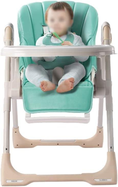 ベビーハイチェア - 好ましくはレザー+ステンレススチールチューブ、6ヶ月 - 3歳の赤ちゃん多機能座ってリクライニングポータブル折りたたみ調節可能な赤ちゃん乳母車 - 2色オプション (色 : Green)