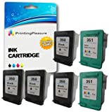 Printing Pleasure 6 XL (2 SETS + 2 BLACK) Remanufactured Ink Cartridges Replacement for HP 350XL 351XL Photosmart C4280 C4380 C4480 C4485 C4580 C5280 Deskjet D4260 D4360 - Black/Colour, High Capacity