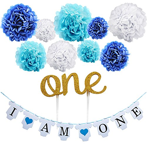 "KUNGYO Boy's First Birthday Party Decoration Kit- Blue Sweet Heart ""I am One""Bunting Banner+9 Pcs Tissue Paper Flower Pom Poms Garland+ Gold ""One""Cake Topper-Perfect 1ST Party Supplies"