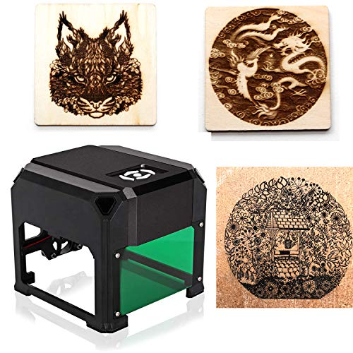 laser engraving machine Laser Engraver Printer 3000mW Mini desktop laser engraver machine DIY Logo laser engraver (Black)