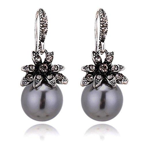 (Luxury Vintage Sun Flower Pearl Drop Earrings For Women - Gray)