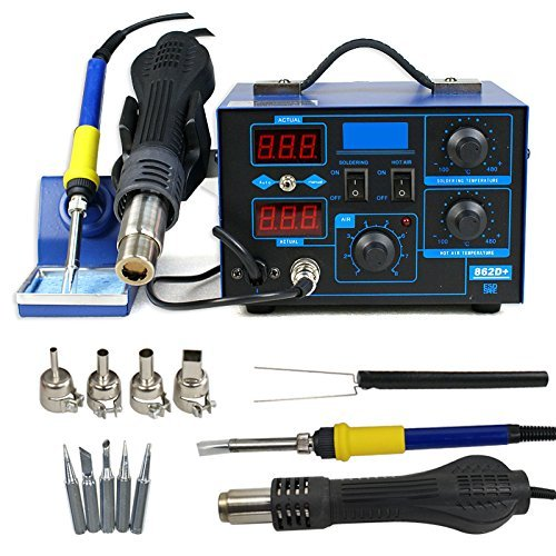 Super Deal 2 in 1 SMD Soldering Iron Welder 862D+ Hot Air Gun Rework Station LED Display W/4 Nozzle (862D) Hot Air Nozzle