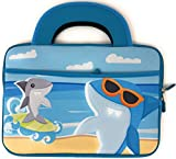 Blue Joy Kids Tablet Case Travel Activity Bag Boy Girl 10 Inch Neoprene Universal Sleeve Handles Tote for Android device compatible with Dragon Touch (10 Inch, Shark)