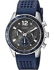 GUESS Mens Perforated Silicone Casual Watch, Color: Blue (Model: U0971G2)