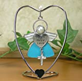 Faith Hope Love Hanging Ornament Angel with Cross Charm and Heart Stand