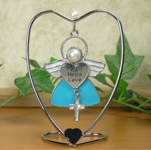 Faith Hope Love Hanging Ornament Angel with Cross Charm and Heart Stand by Banberry Designs
