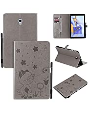 """Miagon Smart Cover for Samsung Galaxy Tab A SM-T590/T595 {10.5""""},PU Leather Cat Bee Pattern Flip Wallet Case with Stand Auto Wake/Sleep Card Slot Pen Holder Function,Gray"""