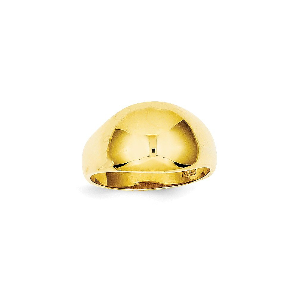 14k Yellow Gold 10mm Domed-top Tapered Cigar Band Ring