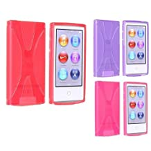 SODIAL(R) 3 Packs of X Shape TPU Rubber Case Combo compatible with Apple iPod nano 7th Generation, Red, Purple, Hot Pink